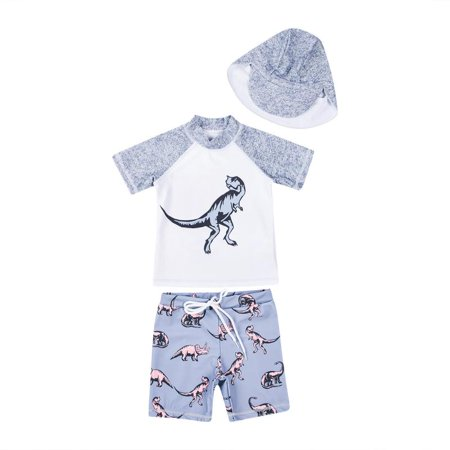 Baby Toddler Boys' 3-Piece Swimsuit Set Dinosaur Bathing Suit Trunk and Rashguard with Hat Grey - Ring Bearer Gray Suit