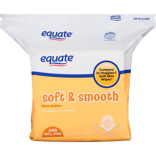 Equate Soft & Smooth Shea Butter Refill Wipes, 240 sheets