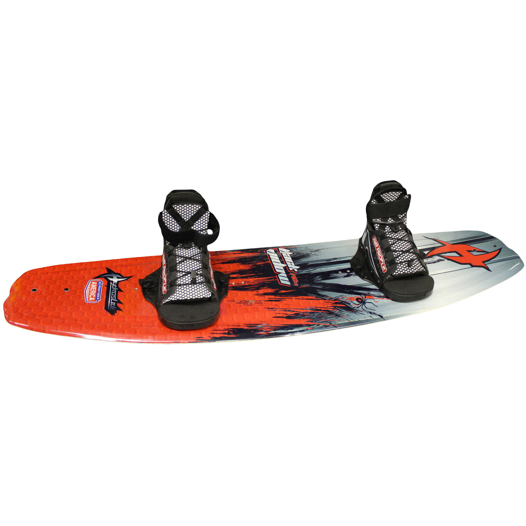 Hydroslide 2180266 2 Fin Design 56 Inch Black Widow Watersports Wakeboard, Red