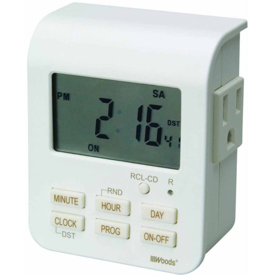 Woods 50009 Indoor 7-Day Heavy-Duty Digital Outlet Timer with 2-Outlets