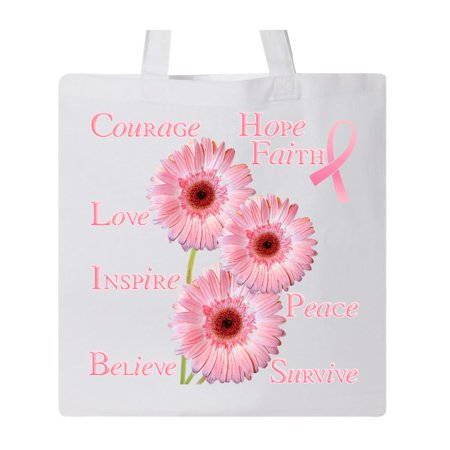 Inspirational Breast Cancer Panel Tote Bag White One Size](White Tote Bags)