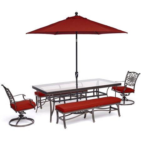 Image of Hanover Traditions 5-Piece Patio Dining Set in Red with 2 Swivel Rockers, 2 Benches, Glass-Top Table, 11 Ft. Umbrella and Stand