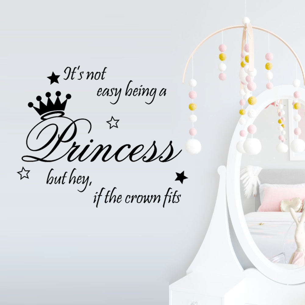 Beautiful Princess Crown Wall Sticker Bedroom Decor Vinyl Decal Die Cut