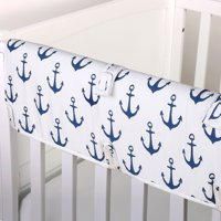 The Peanut Shell Baby Crib Rail Guard - Navy Blue and White Nautical - 100% Cotton Sateen Cover, Polyester Fill