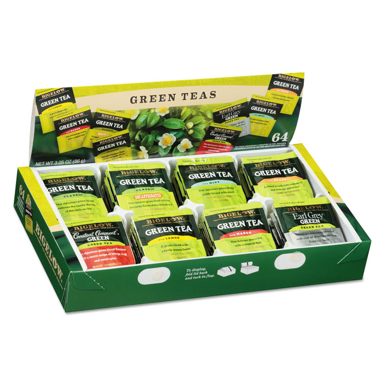Bigelow Green Tea Assortment, Individually Wrapped, Eight Flavors, 64 Tea Bags/Box -BTC30568