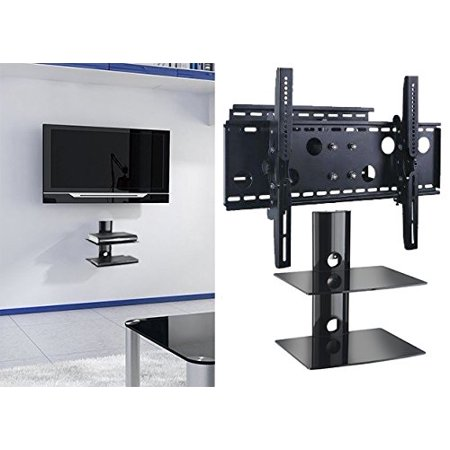 2xhome TV Wall Mount Bracket & Double Shelf Package Secure Cantilever LED LCD Plasma Smart 3D WiFi Flat Panel Screen Monitor Display Large Displays Long Swing Out Single Arm Extending