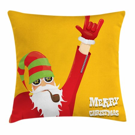 Indie Throw Pillow Cushion Cover, Biker Santa Claus Smoking Pipe Hand Gesture Party Christmas Cartoon, Decorative Square Accent Pillow Case, 18 X 18 Inches, Marigold Pistachio Green Red, by (Santa Smoking Pipe)