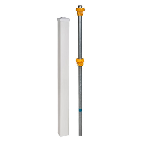 Wam Bam No-Dig Fence Vinyl Finishing Post with Cap and Steel Pipe Anchor Kit by Wam Bam No-Dig Fence
