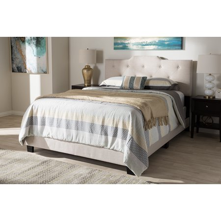Ash Modern Bed - Baxton Studio Brunswick Modern Upholstered Panel Bed, Multiple Sizes and Colors