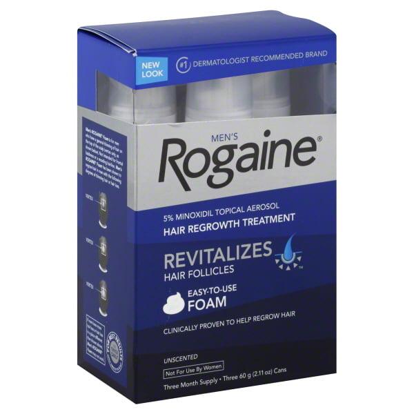 Men's Rogaine Unscented Foam Hair Regrowth Treatment, 2.11 oz, 3 count