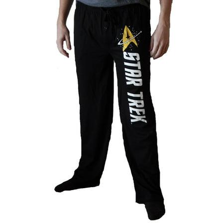 Star Trek Gold Emblem Mens Black Sleep Pants