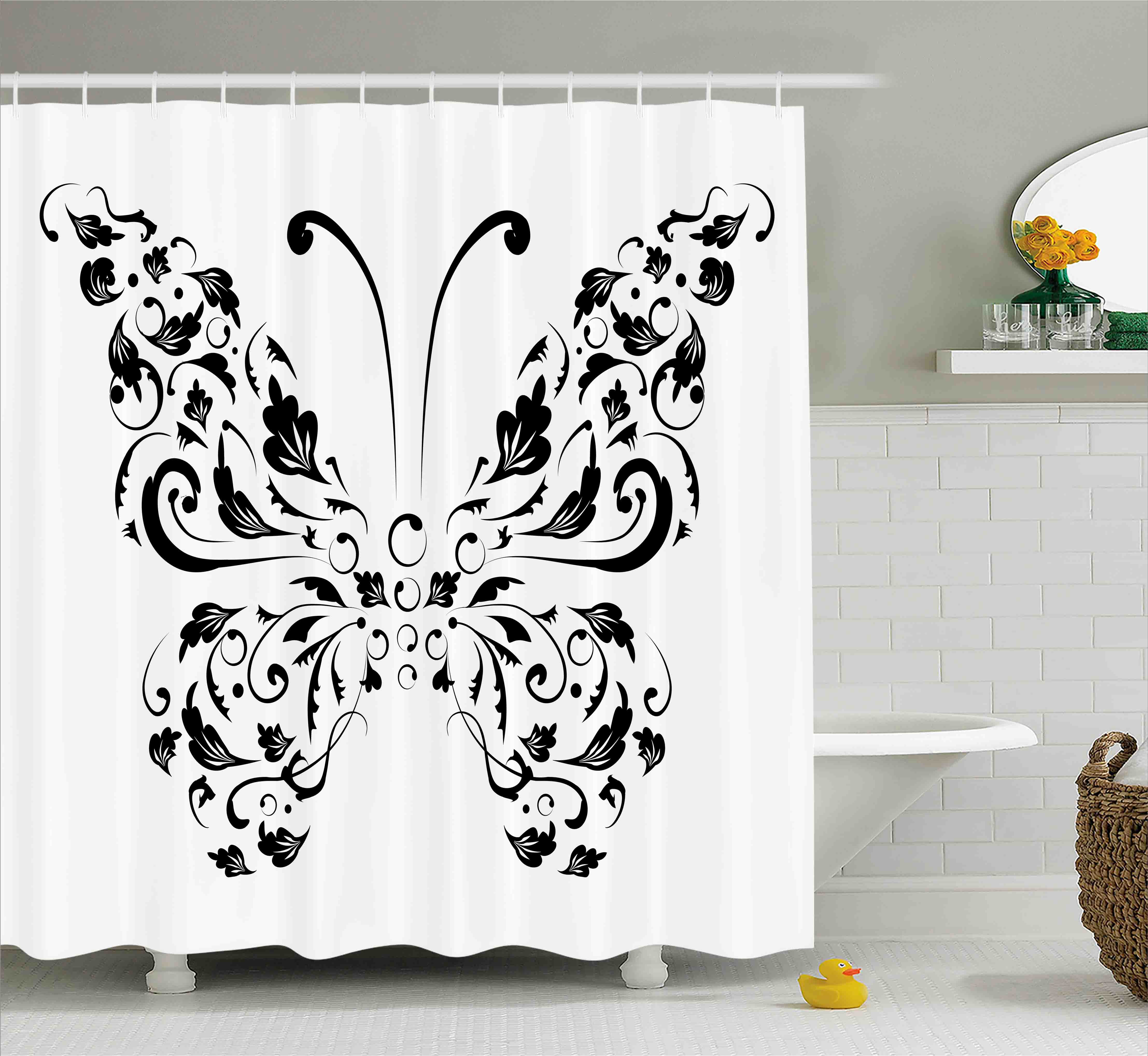 butterfly shower curtain silhouette of moth with swirl floral blossom line spirit animal