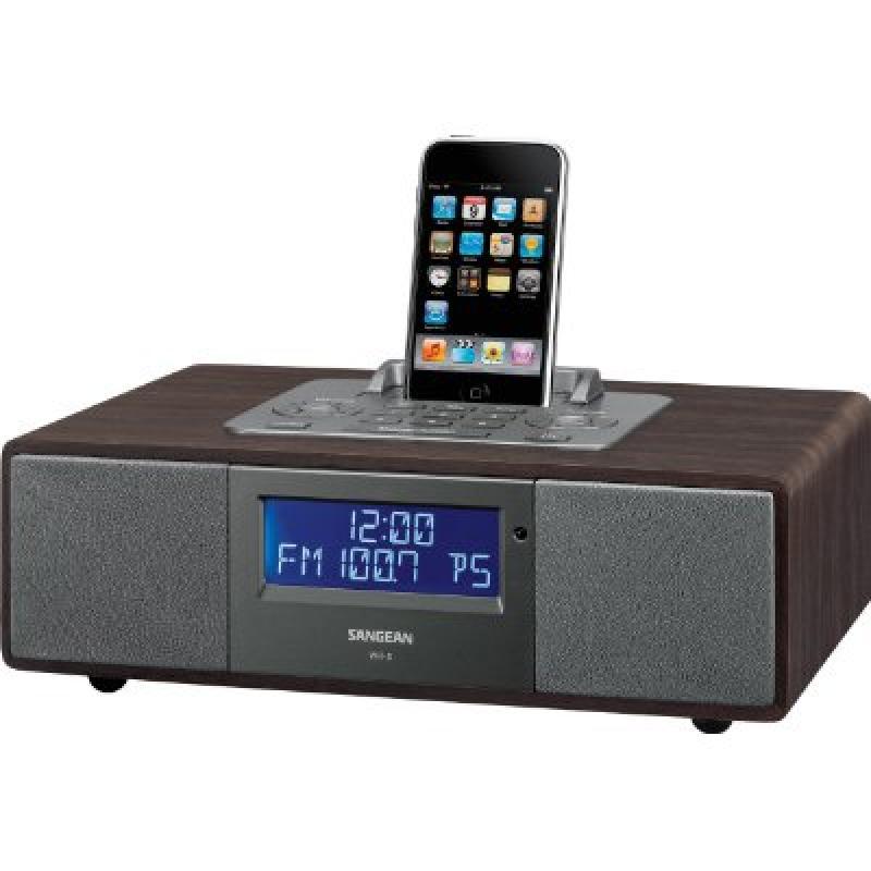Sangean WR-5 Hi-Fi AM FM-RDS Table-Top Radio with iPod Dock (Dark Walnut) by Sangean