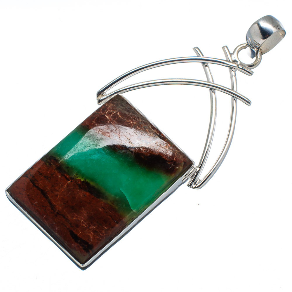 "Ana Silver Co Huge Boulder Chrysoprase 925 Sterling Silver Pendant 2 5 8"" PD591620 by Ana Silver Co."