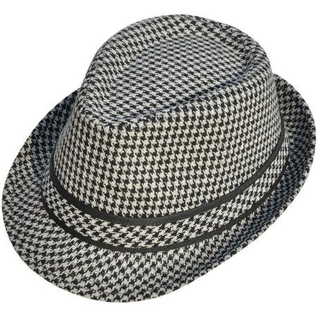 df37fe5679f Simplicity Unisex Fairsworth Houndstooth Wool Tweed Fedora Hat Black Grey -  Walmart.com