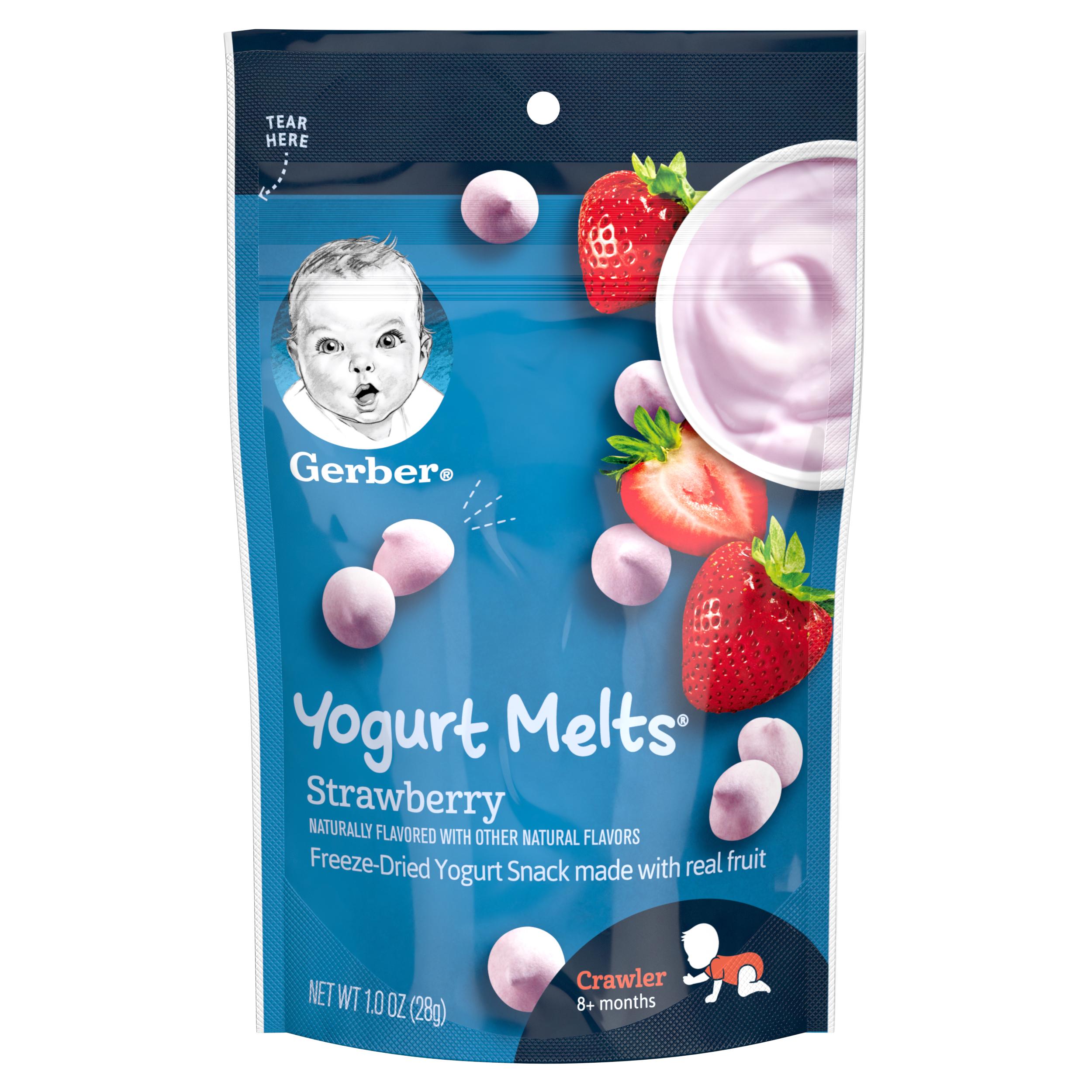 Gerber Graduates Yogurt Melts Freeze-Dried Yogurt & Fruit Snacks, Strawberry, 1 oz