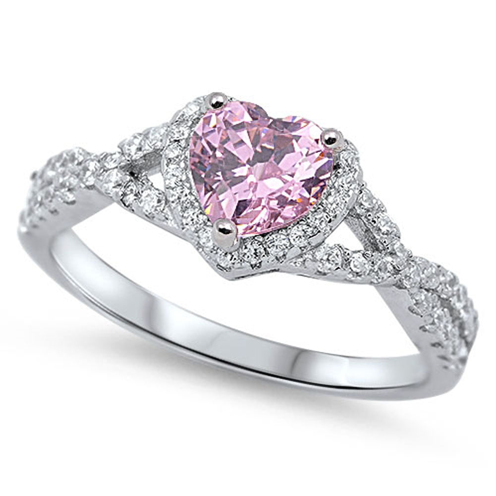 sapphire and product double heart shape rings shank pink with wedding halo ring twist