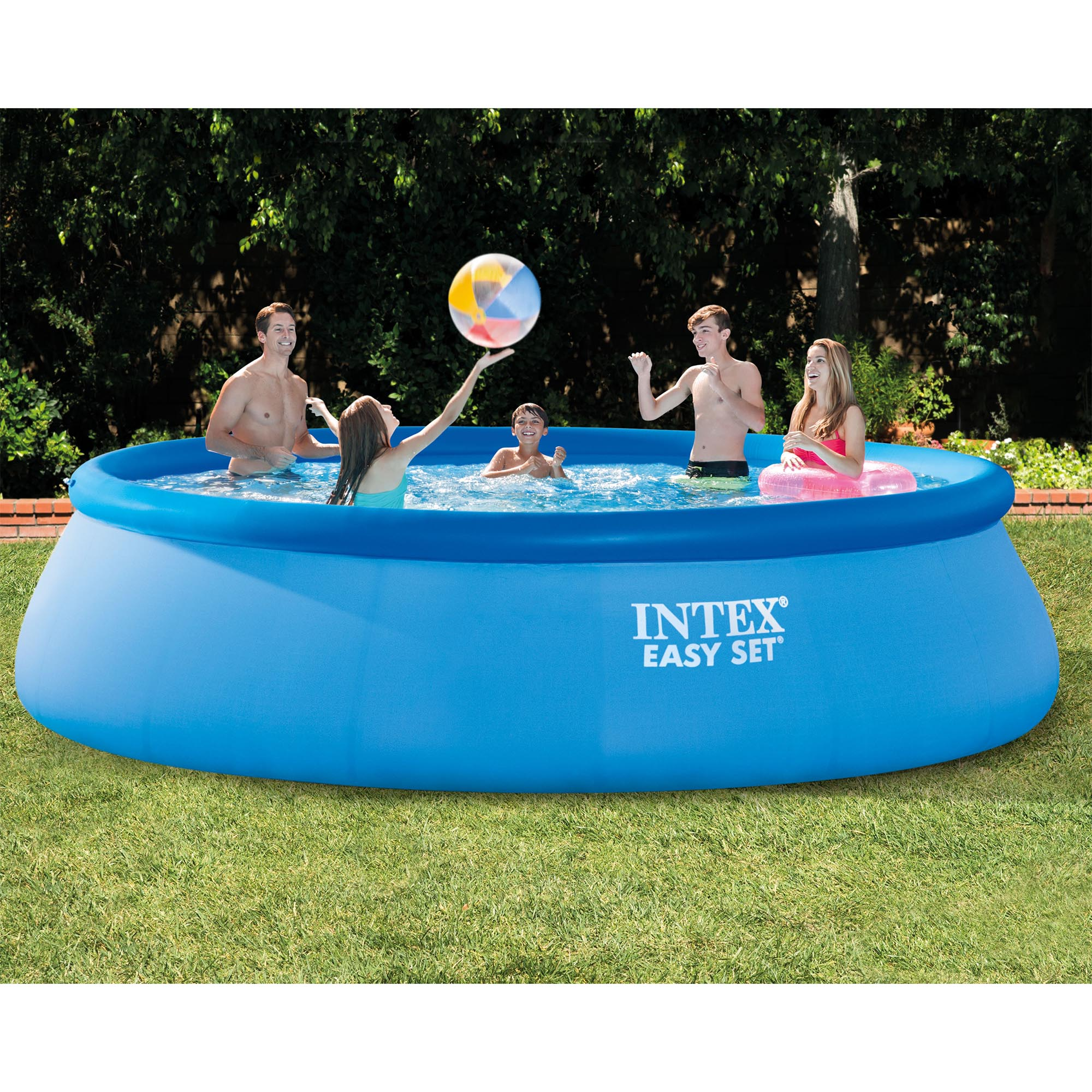 "Intex 15' x 42"" Inflatable Easy Set Above Ground Swimming Pool w  Ladder & Pump by Intex Development"