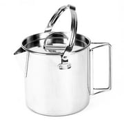 Jianama 1.2L Stainless Steel Teapot Outdoor Camping Hiking Cooking Kettle with Lid