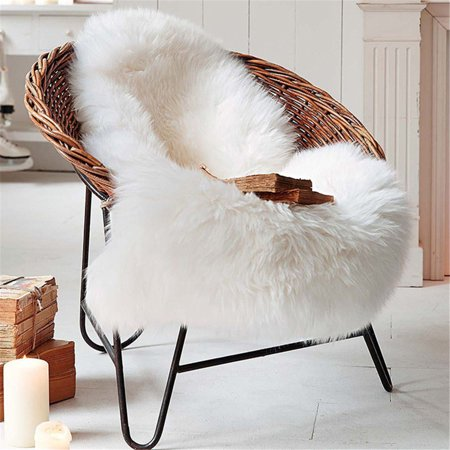 Excellent Faux Sheepskin Fur Rug Soft Fluffy Carpets Chair Couch Cover Seat Area Rugs For Bathroom Bedroom Sofa Floor Living Room 2 X 3Ft Grey White Pdpeps Interior Chair Design Pdpepsorg