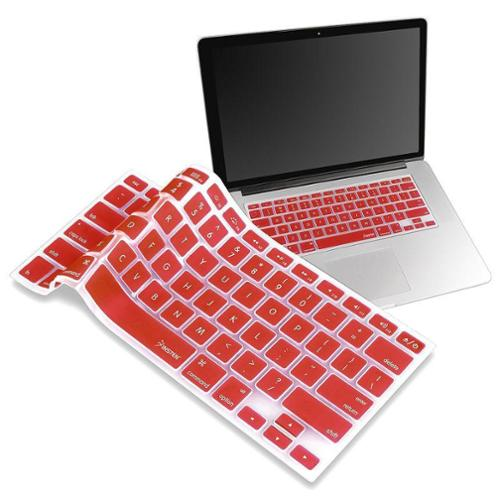 Insten Silicone Keyboard Skin Shield For Apple MacBook White 13-inch / Pro Series, Red