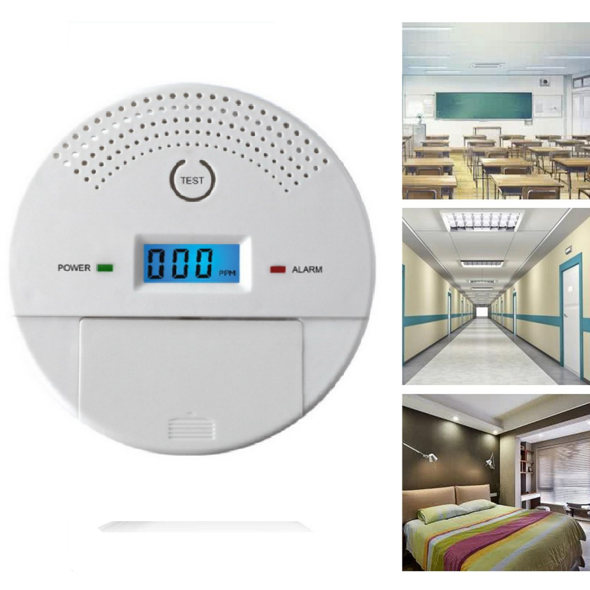 Combination Smoke and Carbon Monoxide Detector for Home, Travel Portable Fire&Co Alarm Battery Operated with Sound Warning and Digital Display