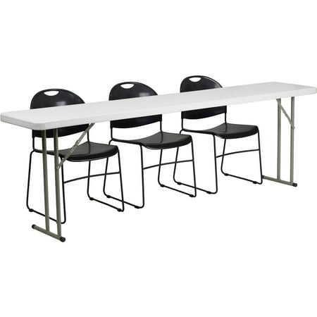 Flash Furniture 18'' x 96'' Plastic Folding Training Table with 3 Black Plastic Stack Chairs ()