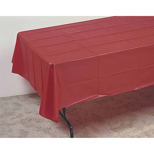 """Plastic Table Cover, 108"""" x 54"""", Pack of 12, Black"""