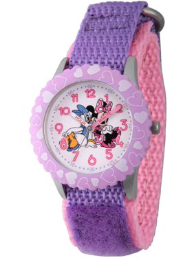 Minnie Mouse and Daisy Duck Girls' Stainless Steel Time Teacher Watch, Purple Bezel, Purple Hook and Loop Nylon Strap with Pink Backing