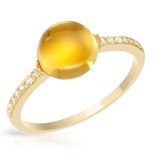 14K YELLOW GOLD 2.58CTW CITRINE AND DIAMOND RING by