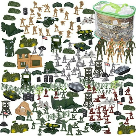Blue Panda 300 Piece Army Action Figure Set, Military Toy Soldier Playset Tanks, Planes, Flags, Battlefield Tools Party