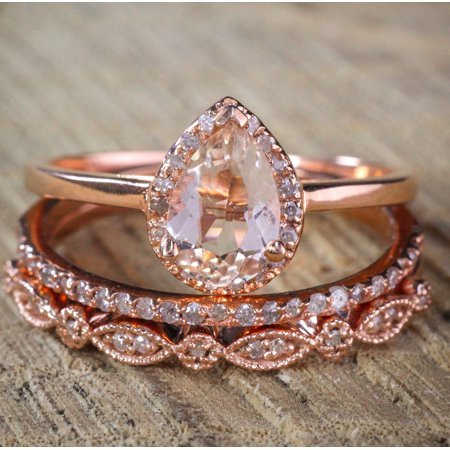 2.25 carat Pear shape Morganite and Diamond Halo Trio Bridal Wedding Ring Set Antique Vintage Design Milgrain in Rose Gold for Women (Pear Shaped Wedding Ring Sets)