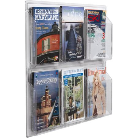 AARCO Products LRC103 Clear-Vu Magazine And Literature Display-6 Magazine Pockets 3 Stack