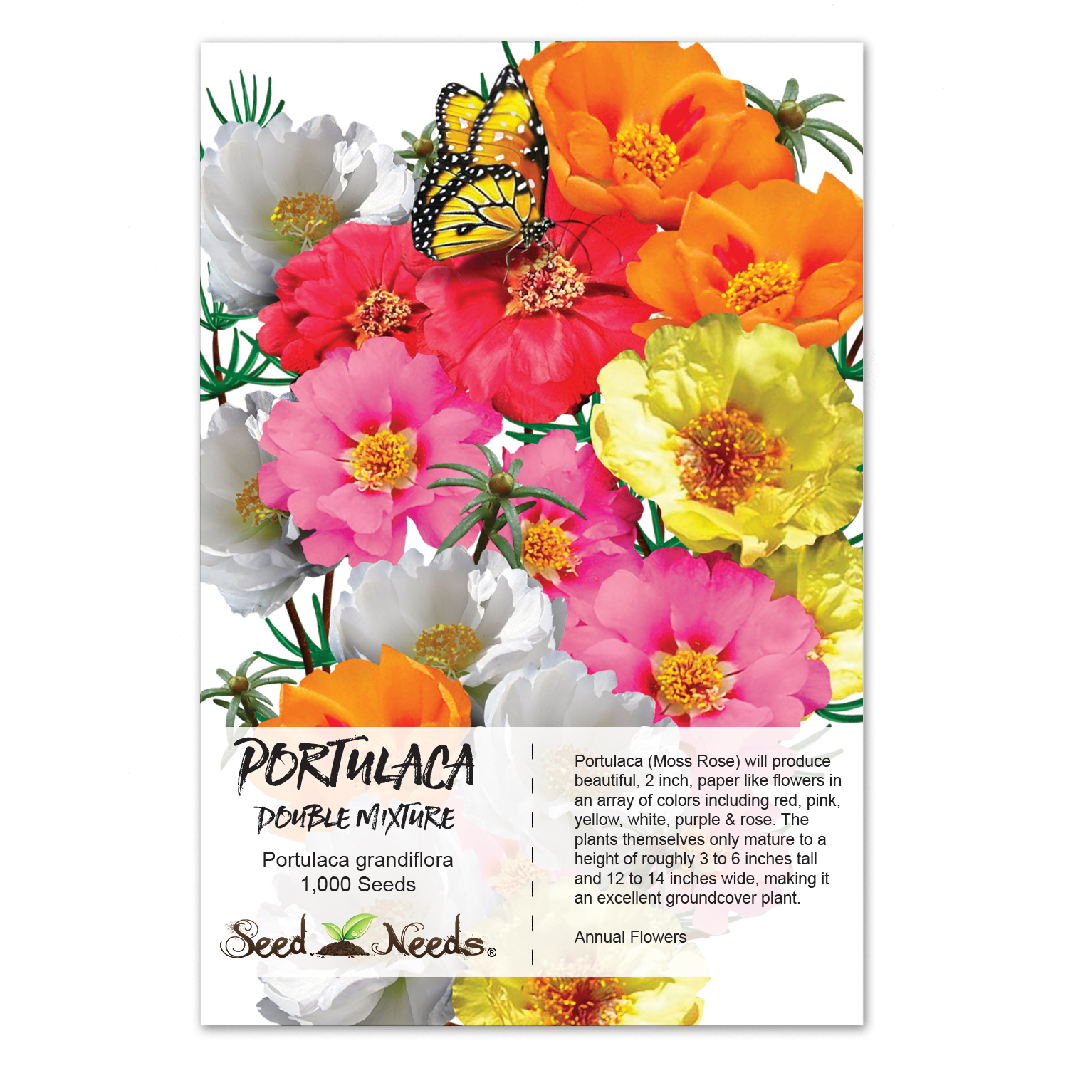 Packet Of 1000 Seeds Portulaca Double Mixture Moss Rose Open