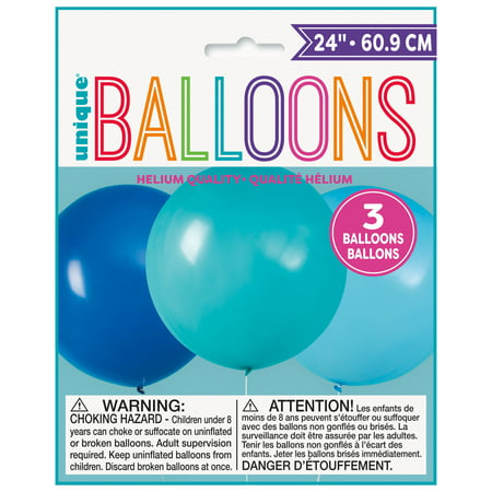 Big Latex Balloons, 24 in, Blue & Teal, 3ct - Big Baloons