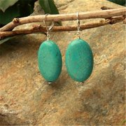 Betty Rocks BERSTQ12430201LB Euro Lever Back 30 x 20mm Thick Flat Oval Stabilized Turquoise Earrings
