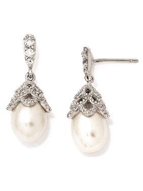 Sterling Silver CZ FW Cultured Pearl Post Dangle Earrings 10mm x 25mm
