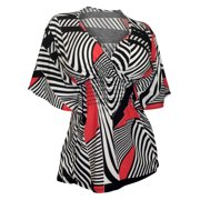 eVogues Plus Size Slimming V-neck Smocked Empire Waist Top Abstract Print Red