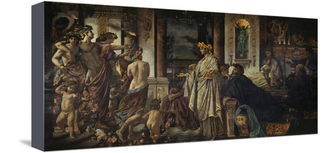the symposium second versio ca 1871 1874 stretched canvas print wall art by anselm feuerbach. Black Bedroom Furniture Sets. Home Design Ideas