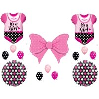 Baby Girl Sleeper & Hair bow Shower Balloons Decoration Supplies Clothes