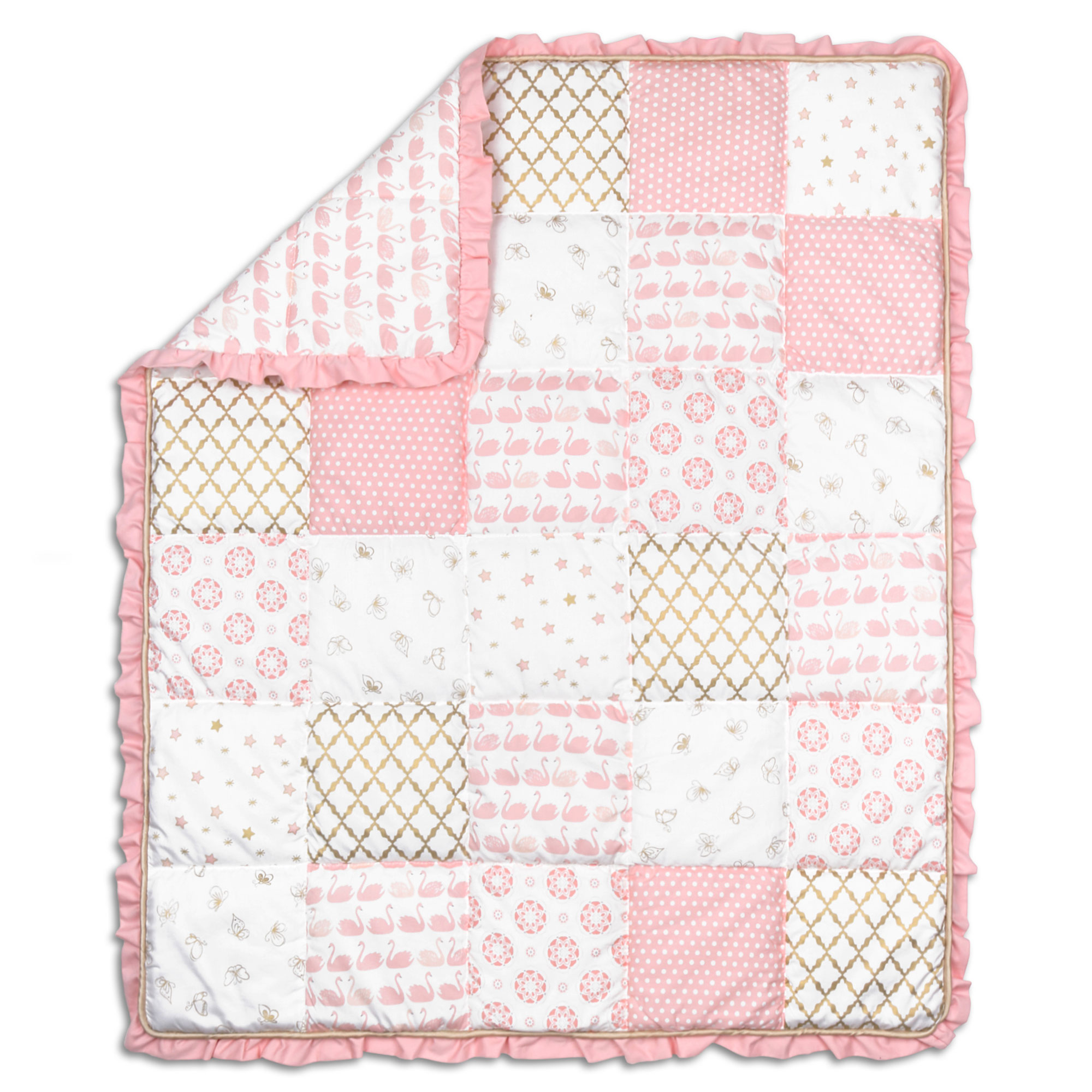 Coral Pink Swan and Gold Trellis Patchwork Quilt by The Peanut Shell