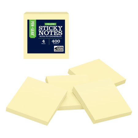 (2 Pack) Pen + Gear Sticky Notes 4 Pack, Yellow, 3 inches X 3 inches, 100 sheets per Pad (Sticky Sheets)