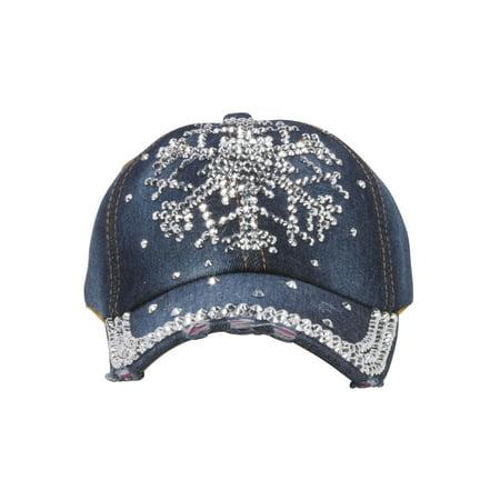 Top Headwear Studded Snowflake Denim Baseball Cap