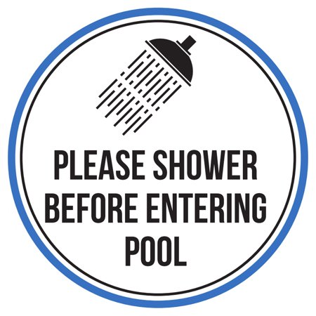 Please Shower Before Entering Swimming Pool Spa Warning Round Sign - 9 (Pool Shower)