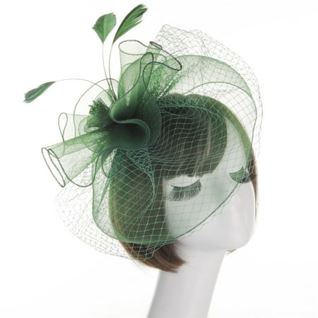 Outtop Women Flower Mesh Ribbons Feathers Headband Cocktail Tea Party Hat Headwear (Led Headwear)