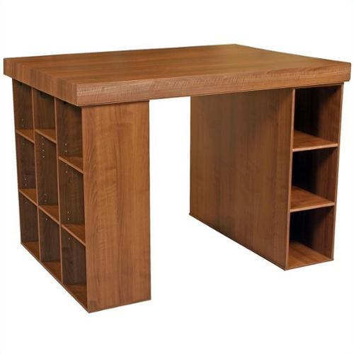 Project Table w Bookcase & Bin Storage in Dark Walnut Finish