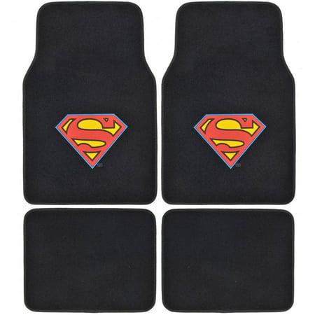 BDK Superman Floor Mats for Cars/Trucks, 4-Piece, Premium Quality, Original Logo Logo Utility Floor Mats