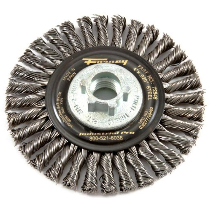 "4"" x .020"" Wire Wheel Brush, Twist Knot w/5/8""-11 and M14x 2.0 Multi Arbor 72846"