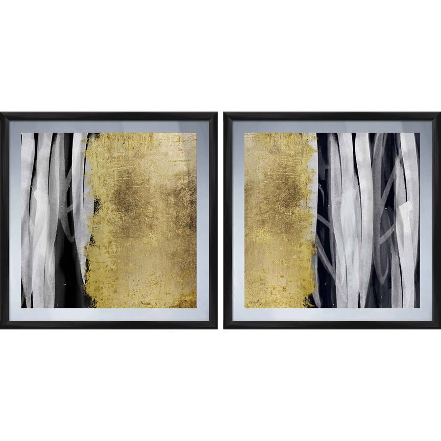 "Black and Gold Wall Art, 17.375"" x 17.375"", Set of 2"