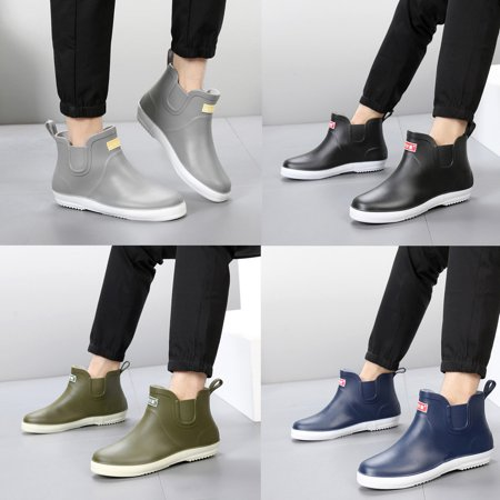 Summer Mens Low Top Shoes Rain boots Waterproof Flats Slip On Rubber Bootie